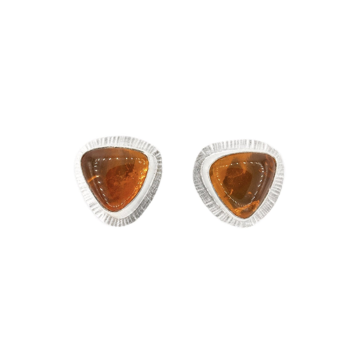 triangle orange Oregon fire opals glow stud post earrings by Original Sin Jewelry in Tucson Arizona