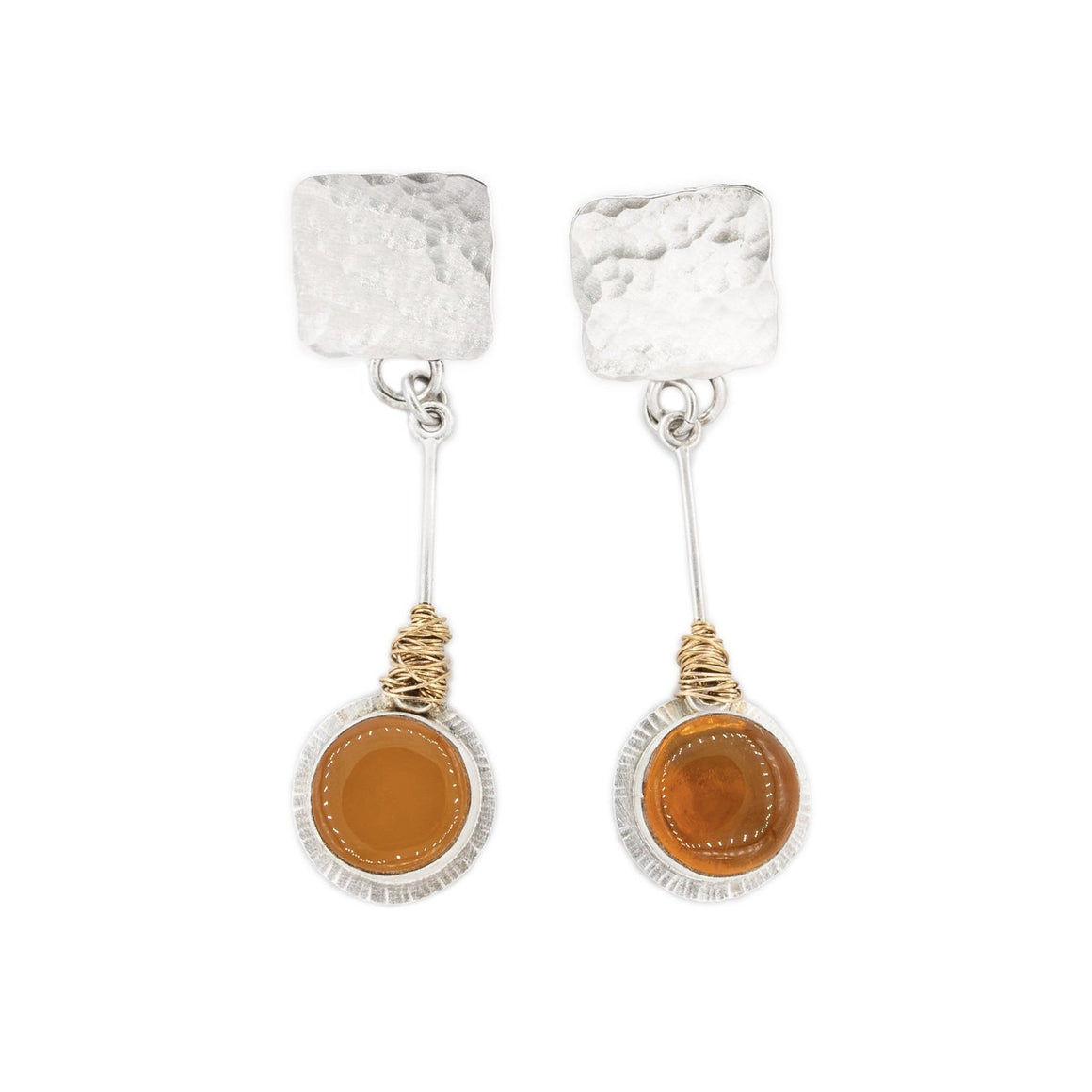 Silver Post Earrings with Fire Opal Dangles in Silver with Gold Mixed Metal Earrings by Original Sin Jewelry