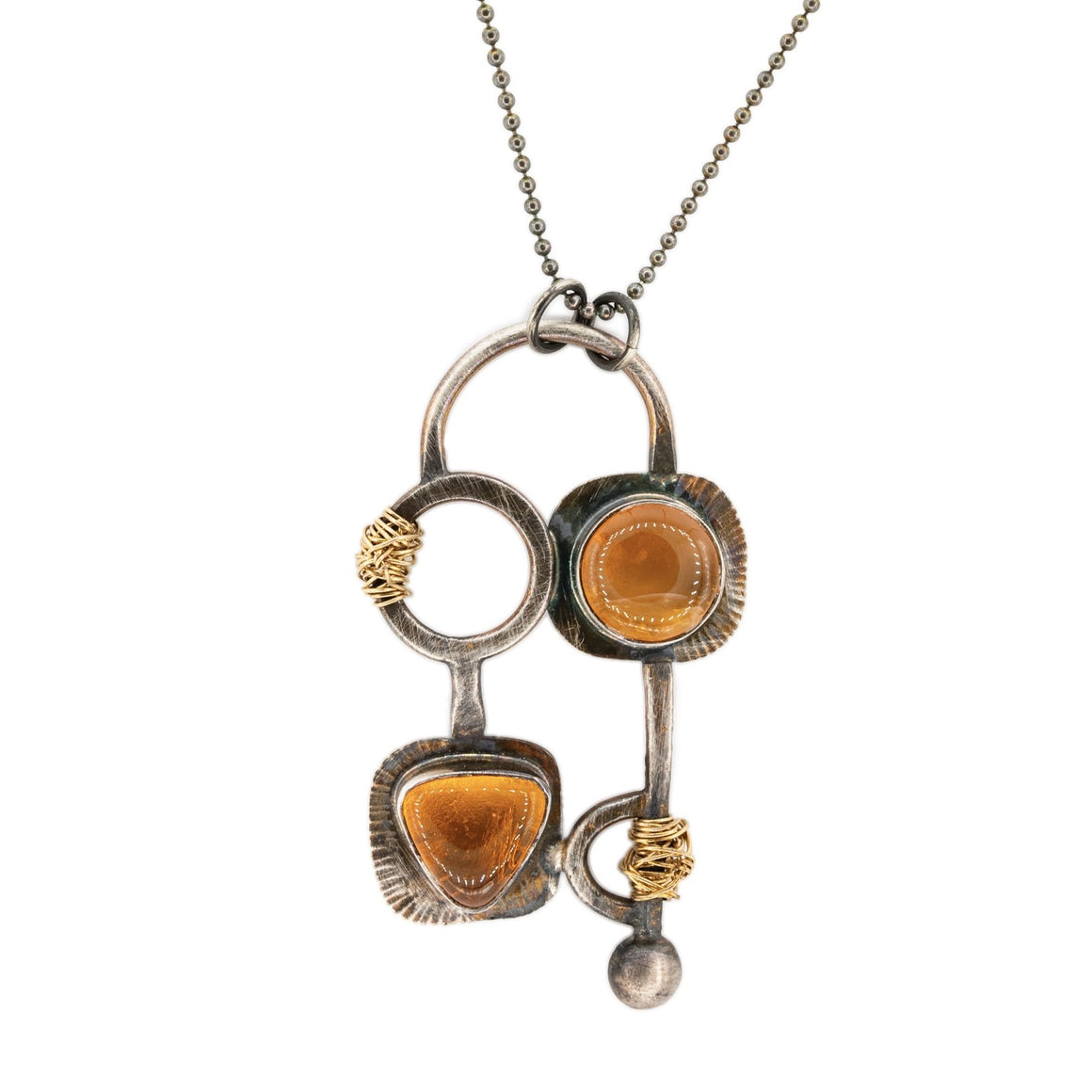 orange Oregon fire opal oxidized silver and gold mixed metal harvest pendant with gold nest by Original Sin Jewelry