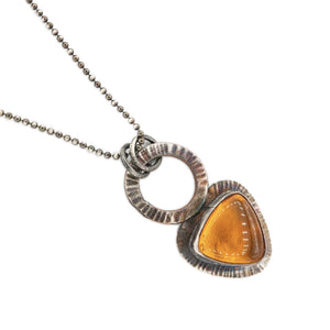Radiant Texture on Oxidized silver Fire Opal Pendant on 16 inch Oxidized Silver Necklace by OSJ