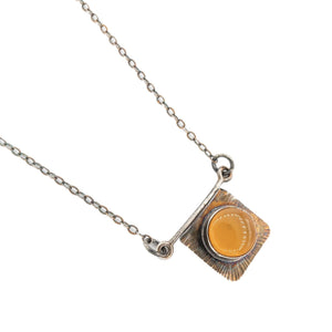 Handmade Radiance texture on Oxidized Silver setting for Oregon Fire Opal Necklace and Pendant by Original Sin Jewelry