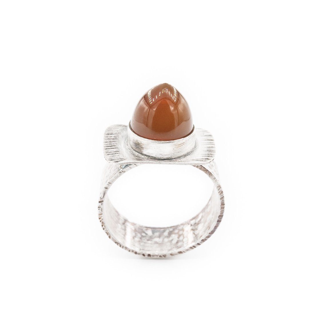 bullet shaped Oregon fire opal ring in oxidized silver by Original Sin Jewelry