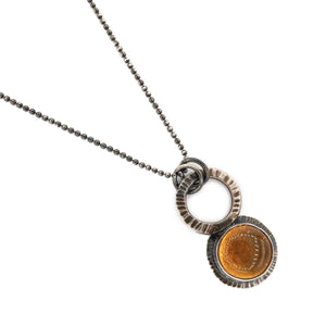 Radiance texture by OSJ with Oregon orange fire opal in oxidized silver with silver ball chain