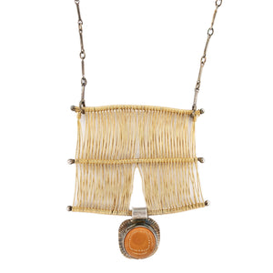 Woven Tapestry Necklace in Gold with Fire Opal in Oxidized Silver by Original Sin Jewelry