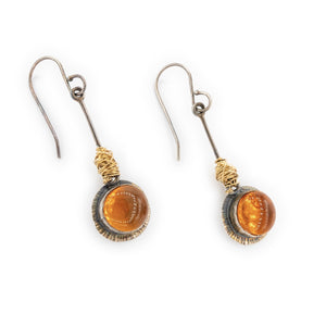 Gold Nest with Oxidized Silver Pendulum Earrings with Oregon Fire Opal Dangles by Original Sin Jewelry