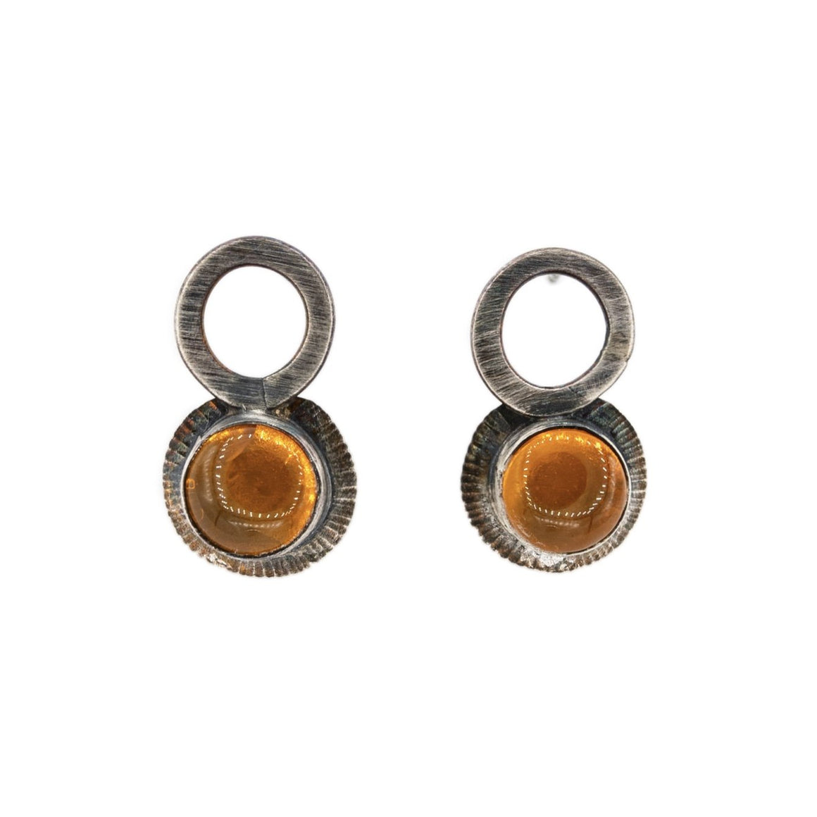 Circle drop oxidized silver fire opal stud post earrings by Original Sin Jewelry