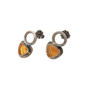 oxidized silver post earrings with silver circles and Oregon fire opal clear orange studs by OSJ