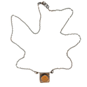 Oxidized Silver chain with Orange Oregon Fire Opal Balance Necklace by Original Sin Jewelry