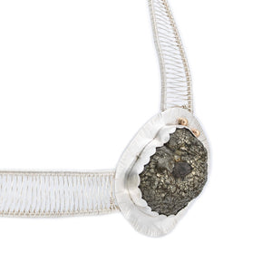 Natural Surface Pyrite set in Fine silver with 14k Gold accents in Woven Neck Piece by Jewelry Artist Margaret at OSJ in Tucson