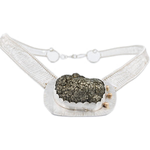 Pyrite and 14k Gold Fine Silver Woven Neck Piece by Original Sin Jewelry in Tucson Arizona Industrial Chic Style Sepia Collection