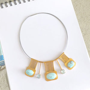 24k Vermeil Dry Creek Turquoise and Aquamarine Multi Bridge Necklace
