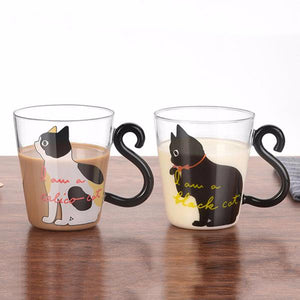 Cute Cat Glass Cup Calico and Black