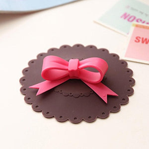Cute Cup Cover Bowknot Chocolate Brown