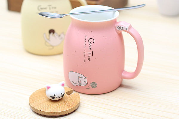 Pastel Cat Mug Lid Off
