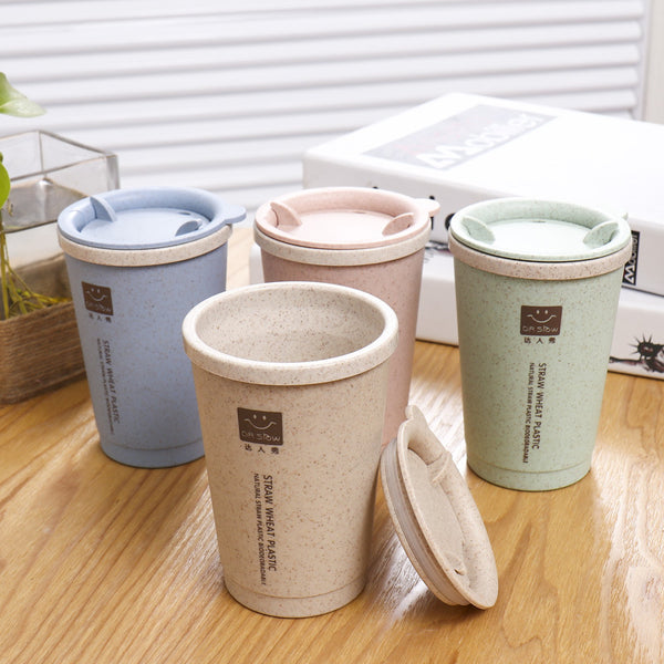 Cute Cup with Lid - Wheat Straw Plastic BPA Free