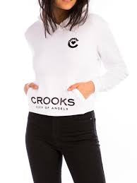Crooks & Castle Knit Hooded Crop Top Crooked Heart