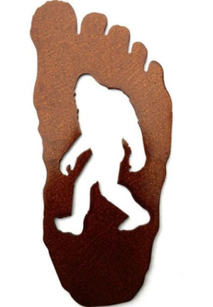 Small Bigfoot Sasquatch Metal Footprint Magnet
