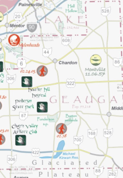 Ohio Mysteries Map Bigfoot UFO