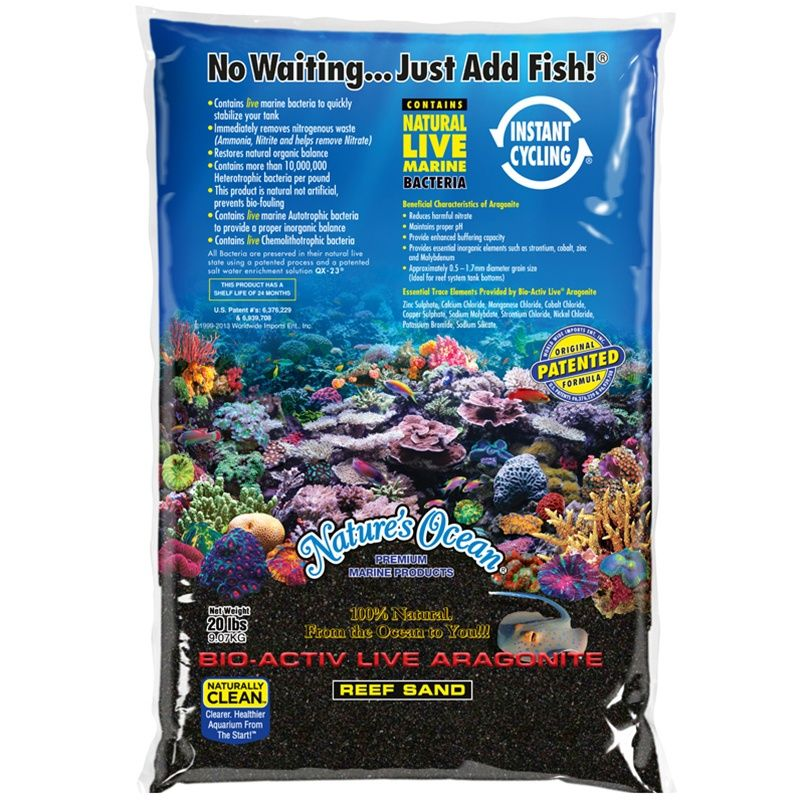 20LB Nature's Ocean Black Beach Bio-Activ Live Aragonite Reef Sand