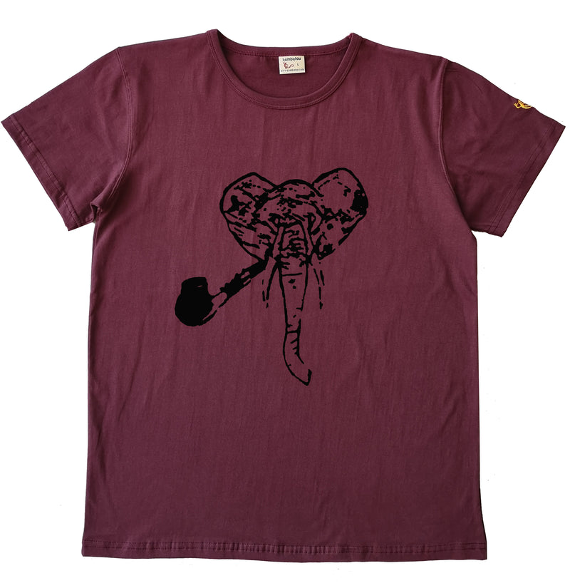 Elephant noir - T-shirt homme rouge bordeau2 ok