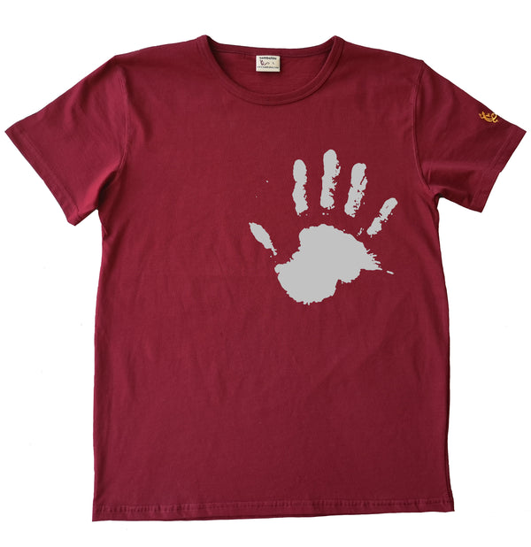 Main the hand blanc - T-shirt homme rouge 2020