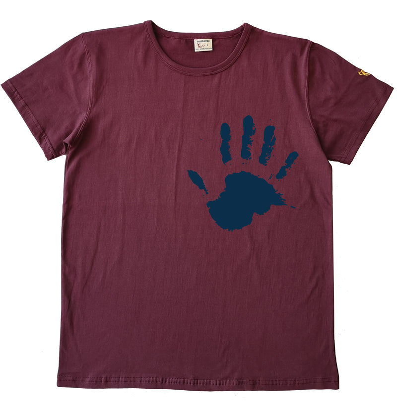 Main the hand bleu - T-shirt homme rouge bordeau2 ok