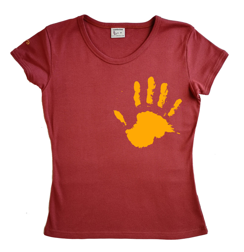 Main the hand jaune - t-shirt femme roxanne couleur rouge ketshup