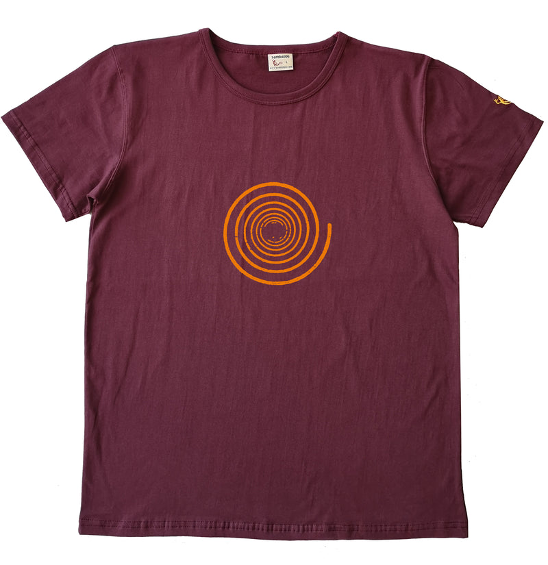 Spirale simple - T-shirt homme bio Sambalou couleur rouge bordeau 2