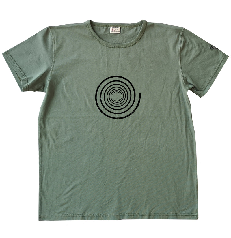 Spirale simple - T-shirt homme bio Sambalou couleur vert olive
