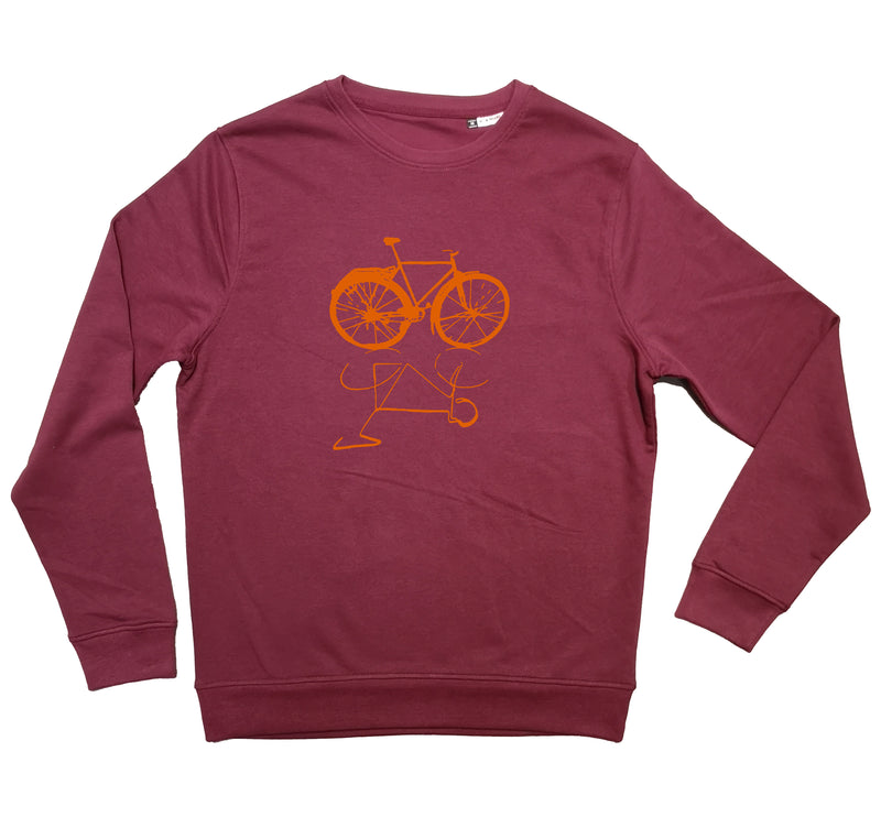 "Sweat-shirt Bio col rond "" Vélo live "" Bordeaux"