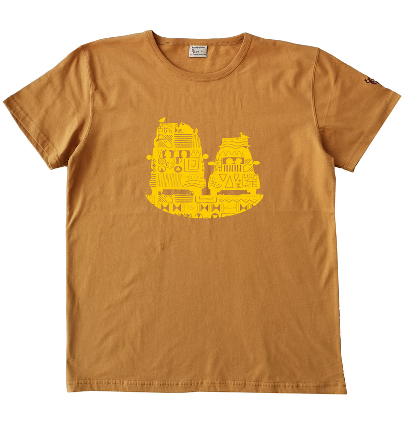 T-shirt homme bio Sambalou couleur jaune moutarde On the road