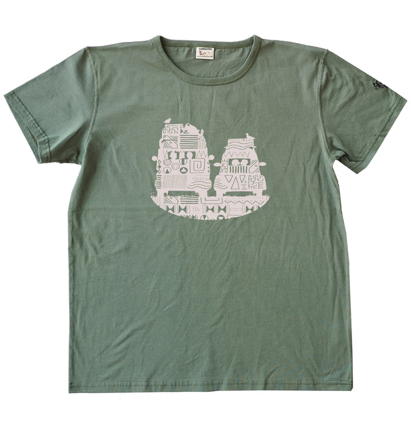 T-shirt homme bio Sambalou couleur vert olive On the road