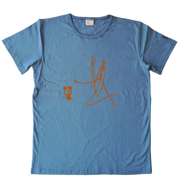 bronze + masque orange - T-shirt homme bleu gris 2020