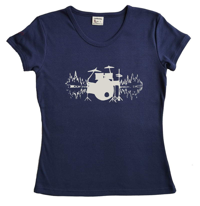 "T-shirt femme BIO col rond "" Drumswave """