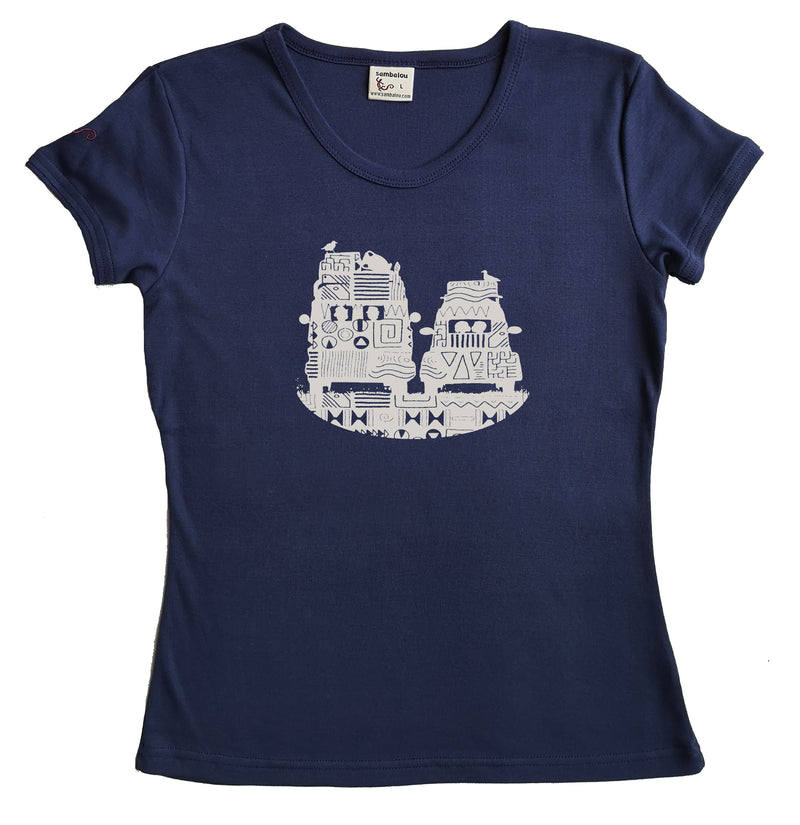 t-shirt femme bio couleur bleu marine On the road