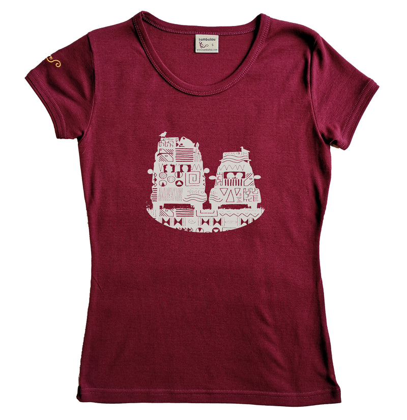 t-shirt femme bio couleur cordovan On the road