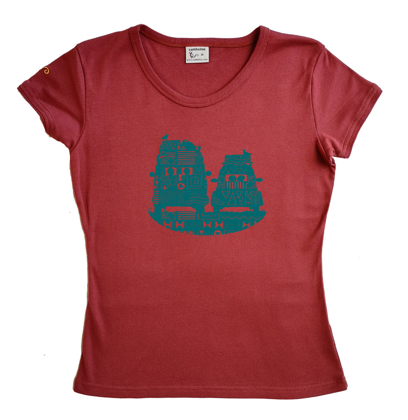 t-shirt femme bio couleur rouge ketshup On the road
