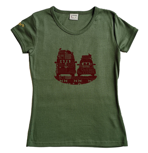 t-shirt femme bio couleur vert kaki On the road