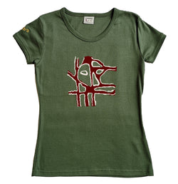 "T-shirt femme BIO col rond "" The mask """