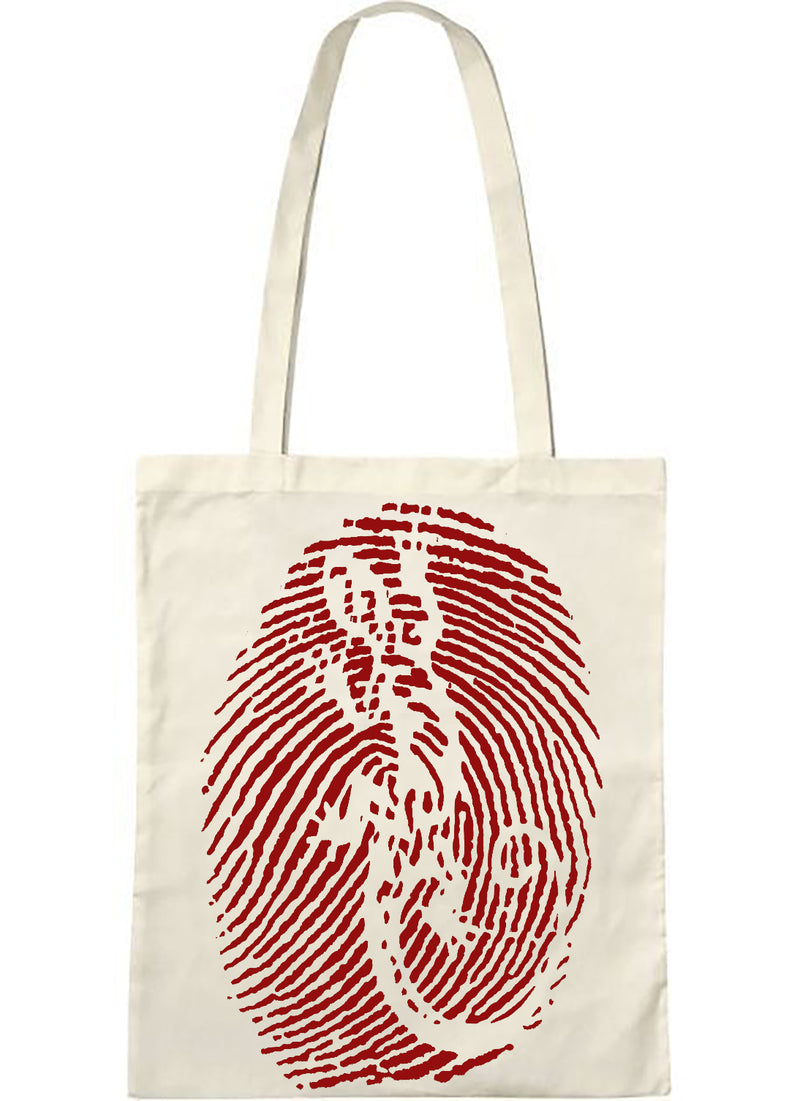 "tote bag naturel sambalou "" empreinte "" rouge"