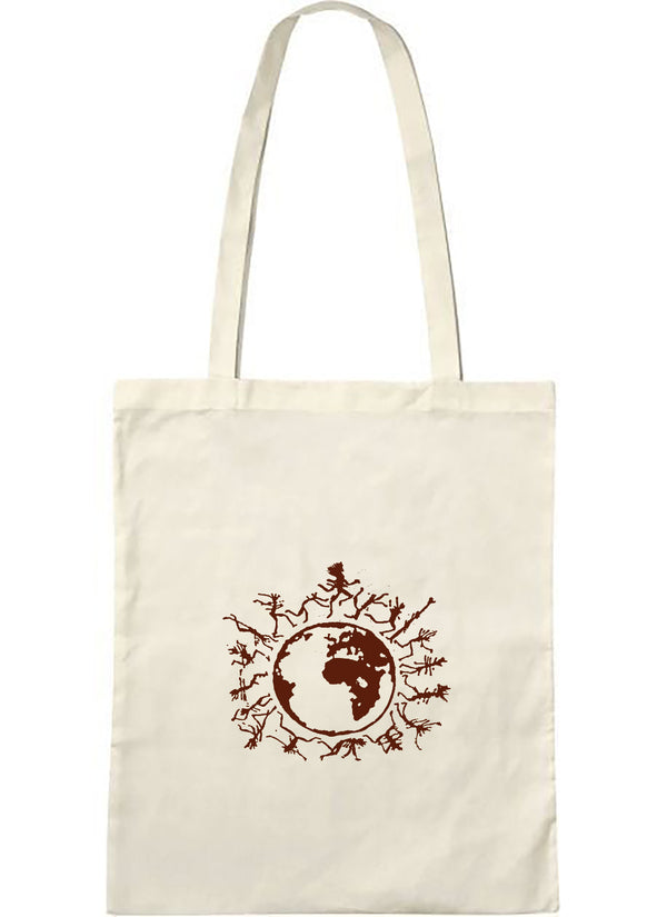 "Tote bag bio sambalou "" one people "" brun"