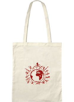 "Tote bag bio sambalou "" one people "" rouge"