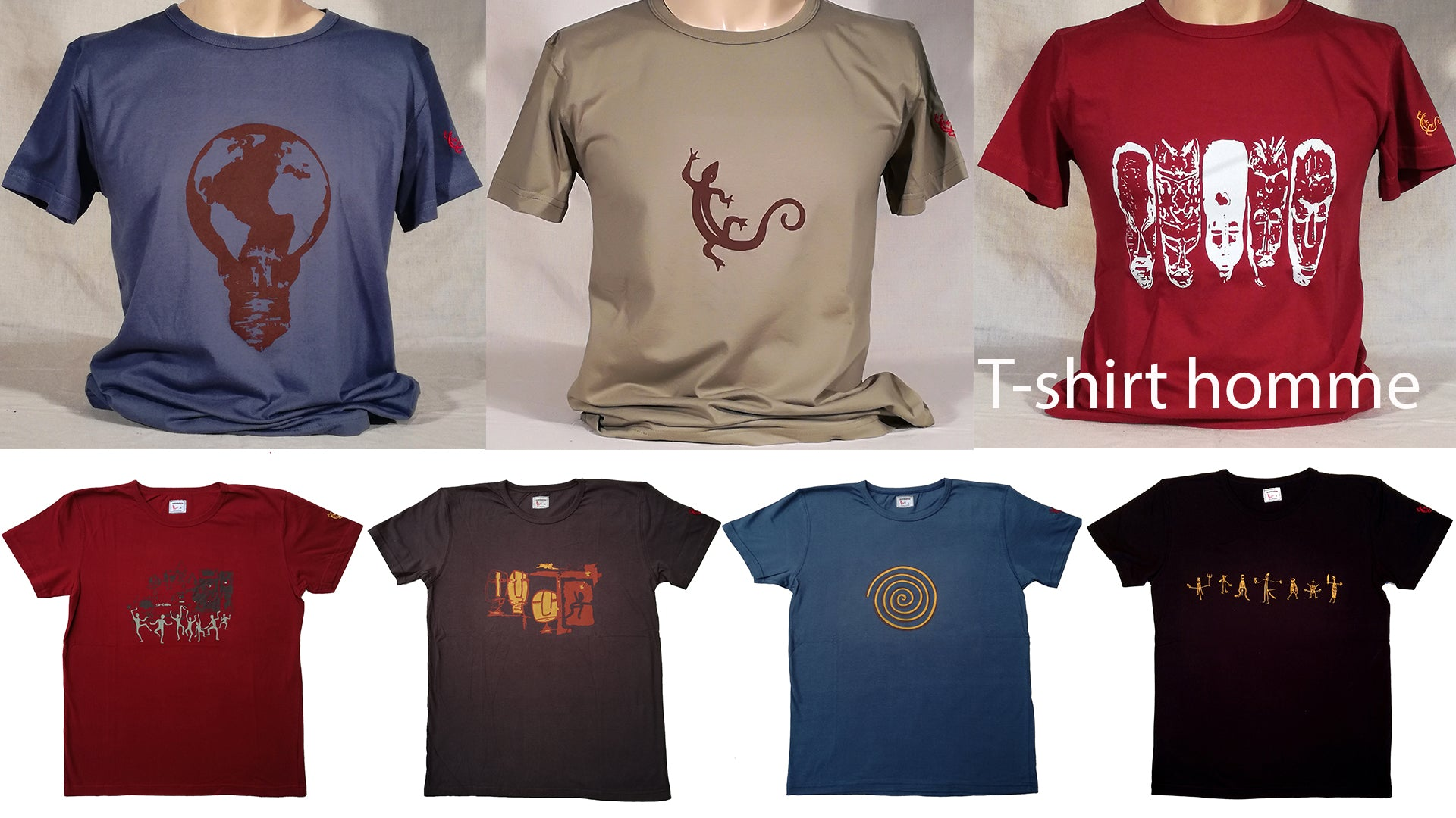 Photo collection t-shirt homme sambalou / t-shirt en coton biologique imprimé en Belgique