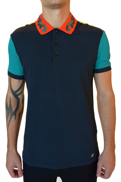 Versace Collection Embroidered Collar Polo