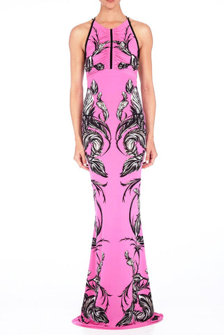 Roberto Cavalli Open-Back Maxi Dress
