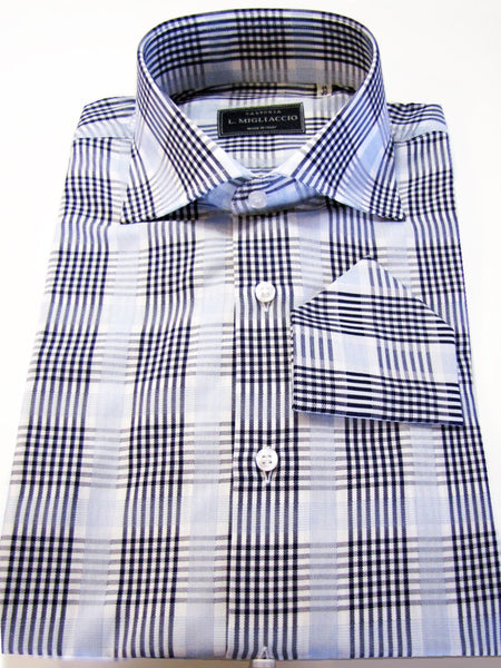 Sartorial classic fit shirt in bold plaid pattern handmade by crafted artisans in Italy.