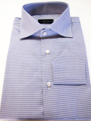 Sartorial classic fit shirt in small stitch pattern handmade by crafted artisans in Italy.