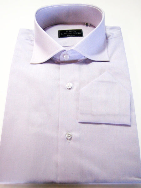 Sartorial classic fit solid shirt in lavander handmade by crafted artisans in Italy.