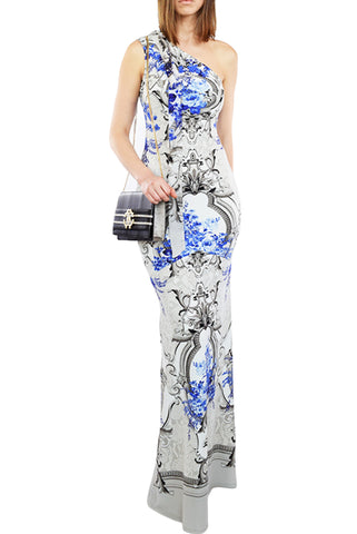 Roberto Cavalli One-Shoulder Maxi Dress