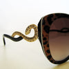 Roberto Cavalli RC736S 'cat eye' sunglasses in leopard with swarovski snake at temples